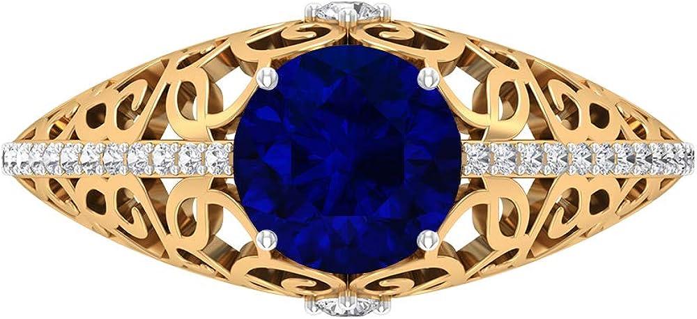 Anillo de 7 mm de zafiro azul creado en laboratorio para mujer, D-VSSI Moissanite Gold Anillo, Piedra Lateral Anillo de compromiso, Anillo de novia vintage, anillo de filigrana, 14K Oro