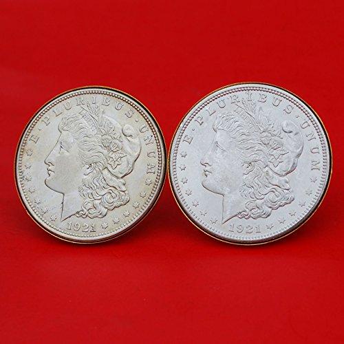 US 1921 Morgan Silver Dollar BU Uncirculated Coins Gold Cufflinks NEW by jt6740