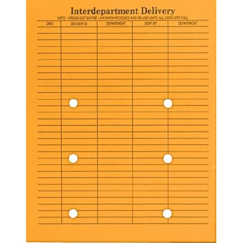 delicate Columbian Brown Kraft String & Button 10 x 13 Inch Interdepartment Envelopes 100 Count (CO880)