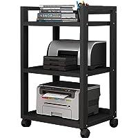 Printer Shelf Floor Style Removable Office Organizer Adjustable Spacing 4 Wheels (Color : All Black)
