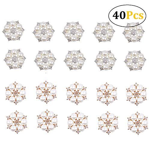 Stock Show 40Pcs Fancy Gold Silver Flower Pearl Embellishment Rhinestone Pearl Button Flatback DIY Alloy Diamond Crystal Bow Earring Drop Accessory Wedding Bouquet Decoration Craft(GoldSilver), 24mm