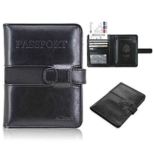 Passport Holder RFID Blocking, ACdream Premium Protective PU Leather Wallet Case for Passport, Credit Card, Business Cards, Boarding Passes, Black