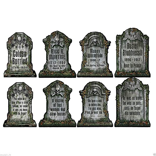 4 HALLOWEEN Haunted House Party Decoration Graveyard TOMBSTONE PAPER Cutouts 15