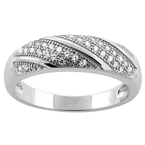Sterling Silver Micro Pave Cubic Zirconia Striped Ladies' Wedding Band size 5.5 (Striped Wedding Band Ring)