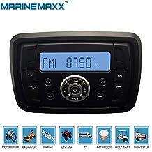 MarineMaxx Marine Stereo Audio MP3 Radio FM AM Bluetooth Music for ATV UTV RZR XP900 Motorcycle Powersports Boat Golf Cart Truck SPA Heavyduty Sound System with Audio Input