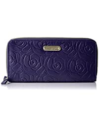 Buxton Rose Garden Slim Double Zip, Black Wallet