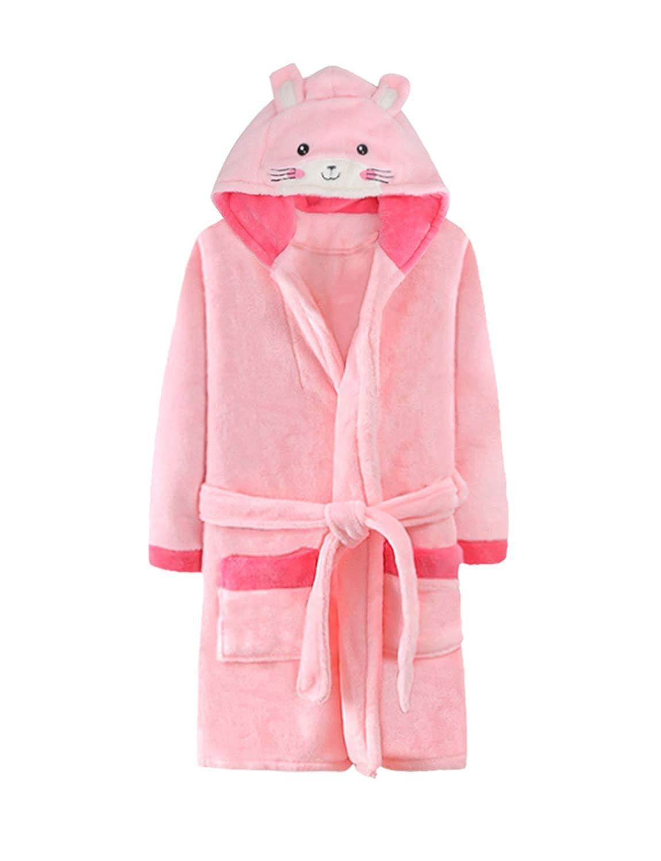BELLOO Kids Hooded Dressing Gowns Fleece Plush Robe Boys Girls Winter Sleepwear Cozy Bathrobes