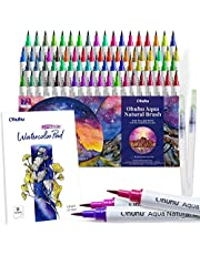 Watercolor Brush Markers Pens Set, Ohuhu 72 Colors Water-Based Paint Marker with 12-Sheet Watercolor Pad & A Blending Aqua Brush, Nylon Brush Tip for Coloring Calligraphy Drawing