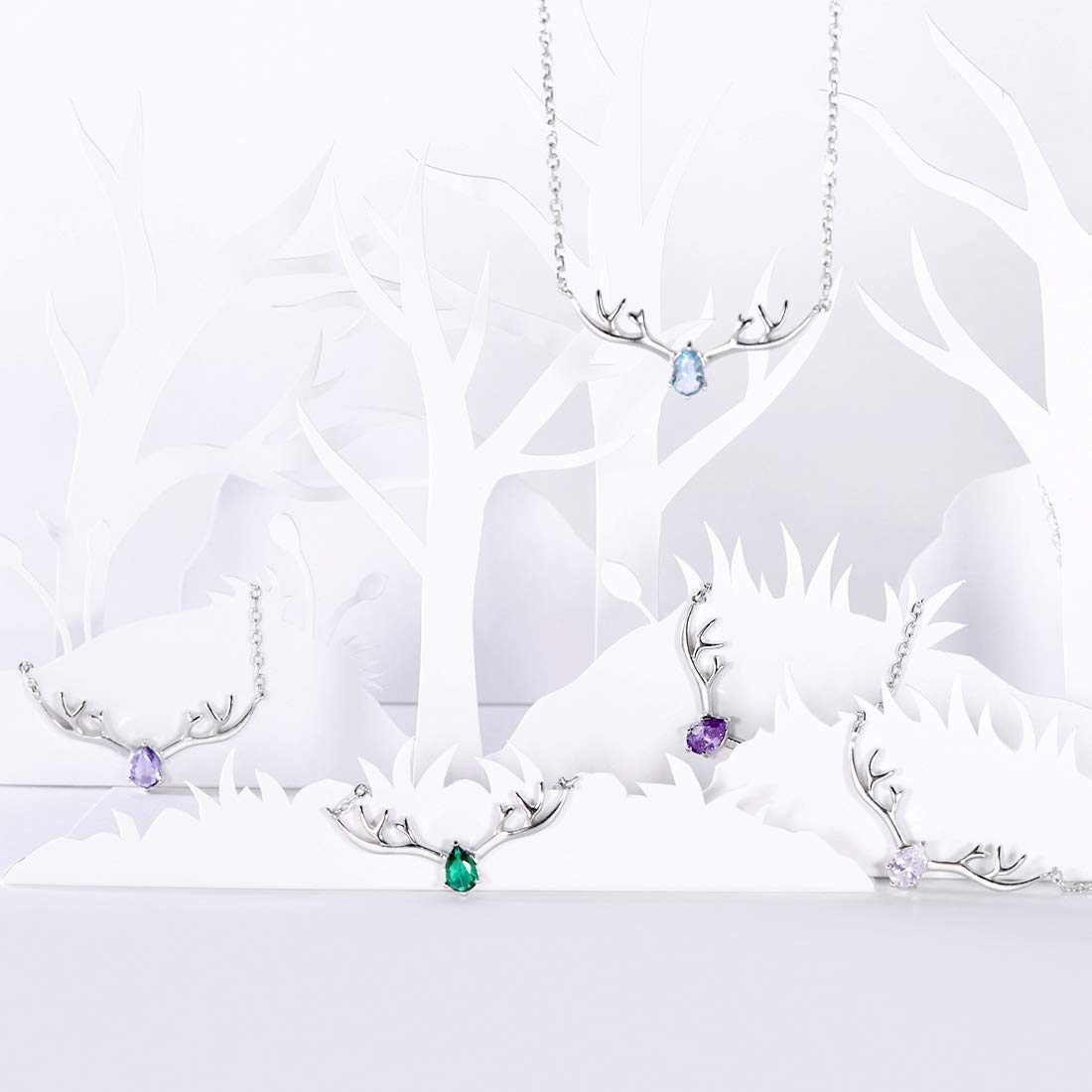 VintFlea Necklace 925 Sterling Silver Reindeer Animal Horn Jewelry Minimalist Style Clavicle Chain with Personalized Birthstone Charm Deer Antler Charm Necklaces