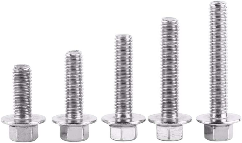 Fasteners Panel Screws 10pcs//Lot M6 Tornillos Stainless Steel 304 Hex Flange Screws Cap Washer Head Bolts Fastener Vis Tete Creuse Nails Size : 16mm
