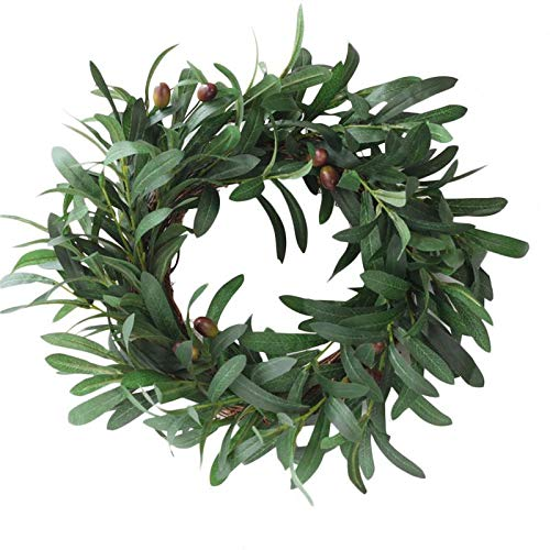 """missblue Artificial Peace Olive Leaf Wreath,18"""" Handcrafted Garland Olive Branch Ornaments Greenery Branches Hanging Decoration for Home Door Wedding"""