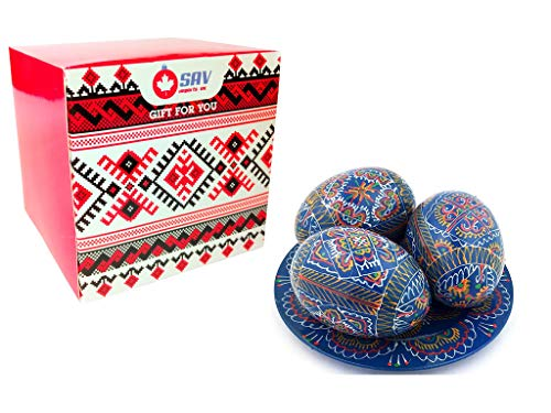 SAV 3 Hand Painted 2,5'' Wooden Polish Ukrainian Geometry Ornament Easter Eggs (Pysanky) On Plate (Blue in Box) ()