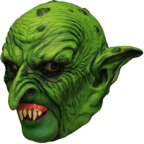 Ghoulish Productions Puck The Goblin Latex Mask Green Open Mouth Prosthetic Teeth Adult (Mask Prosthetics)
