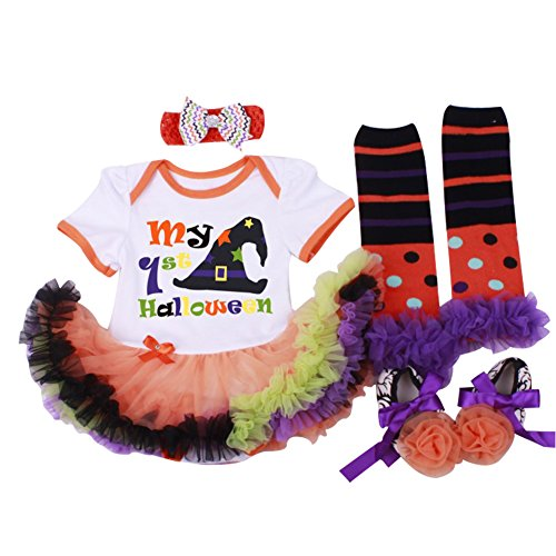 Cheap Halloween Outfit (Bomdeals Baby Girl's Halloween Costumes Pumpkin Outfit Tutu Dress 4pcs (Size S for 0-3 months, White))