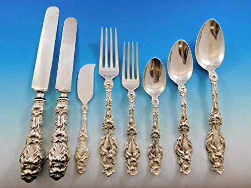 Lily by Whiting Sterling Silver Flatware Set Service 80 Pieces Script Monogram