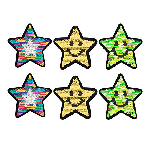 Monique Glitter Sequins Cloth Patch Reversible Star Shape Motif Applique Iron-on Patches Appliques for Jackets Jeans Skirts Clothes Bags Pack of 6