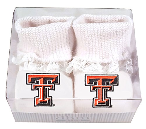 Future Tailgater Texas Tech Red Raiders Boxed Baby Booties with Lace (Tech Tailgater Raiders Texas Red)