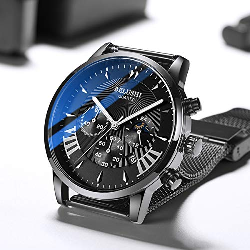 Men's Watch Mesh Band, Stainless Steel Slim Men Watch,Men's Fashion Minimalist Quartz Watch,Blue/Black Face Black Milanese