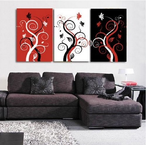 100% Hand Painted Oil Painting 3 Piece Canvas Art Modern Art Wall Art Deco Home Decoration Group Painting Artwork Tree of Life (Unstretch No Frame)