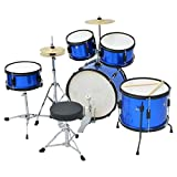 Festnight Complete Drum Kit Powder-coated Steel Blue Junior