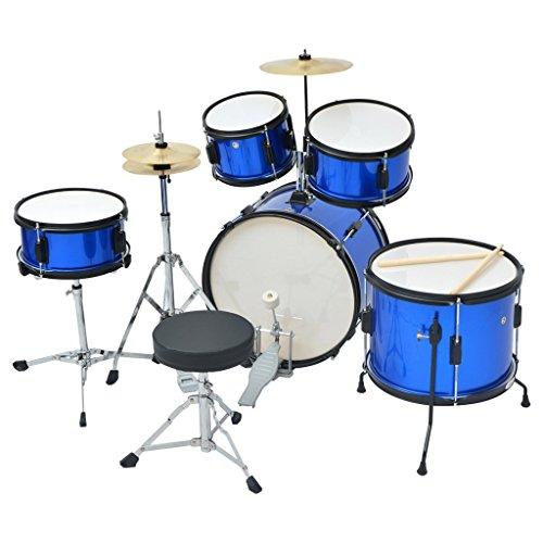 Festnight Complete Drum Kit Powder-coated Steel Blue Junior by Festnight