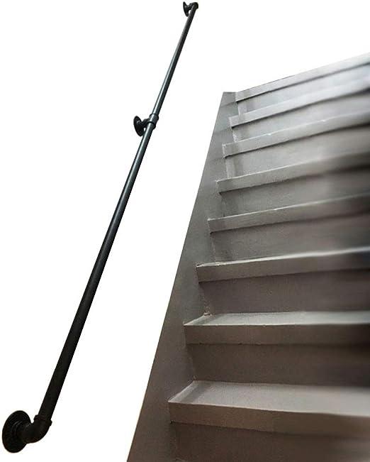 Pasamanos para escaleras interiores y exteriores - Barandilla de escaleras Pasamanos para niños mayores discapacitados Negro Barra de agarre de pasamanos de montaje en pared externa de hierro forjad: Amazon.es: Hogar