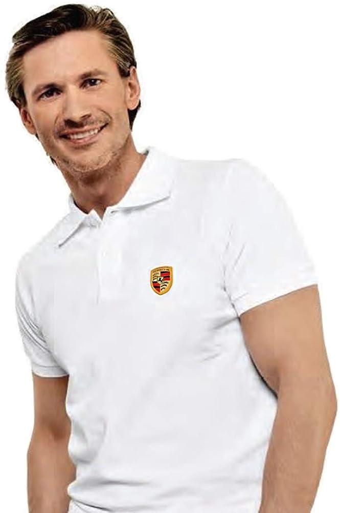 Porsche de Hombre Blanco Polo Camisa con Escudo Blanco Blanco ...