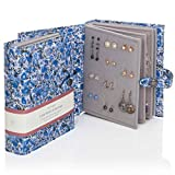 Large Size - Little Book of Earrings - A Small Book for Keeping Your Earrings Safe! (Blue Flowers)