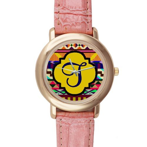 Gifts for girls or ladies Colourful Aztec Pattern Pink Leather Alloy High-grade Watch