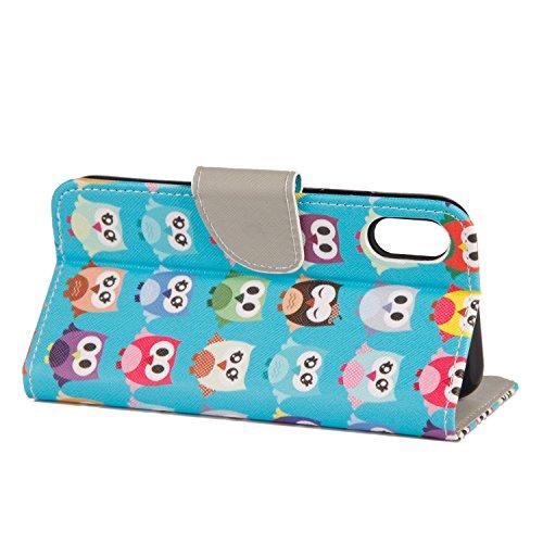 Coque iPhone X Beaucoup de chouettes Portefeuille Fermoir Magnétique Supporter Flip Téléphone Protection Housse Case Étui Pour Apple iPhone X / iPhone 10 (2017) 5.8 Pouce + Deux cadeau