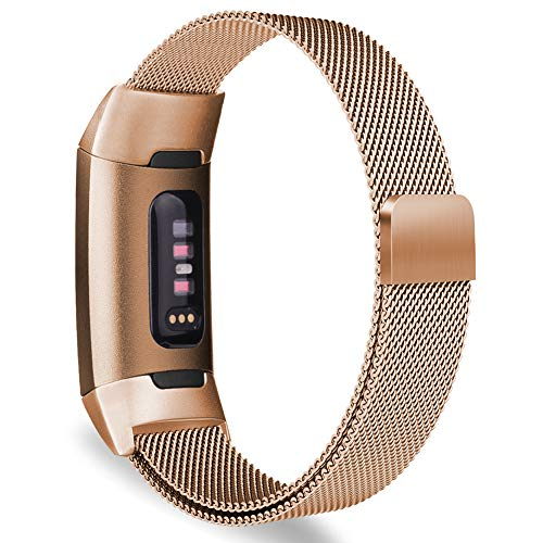 Oitom Metal Bands Compatible Fitbit Charge 3 Band Women Men Small,Magnetic Stainless Steel Milanese Loop Replacement Band Wrist Straps Accessories(5.1-6.7,Rose Gold)