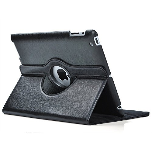 Leather Pedestal - SuperLite 360 Degrees Rotating Stand Leather Case for Ipad 2/3/4, Black