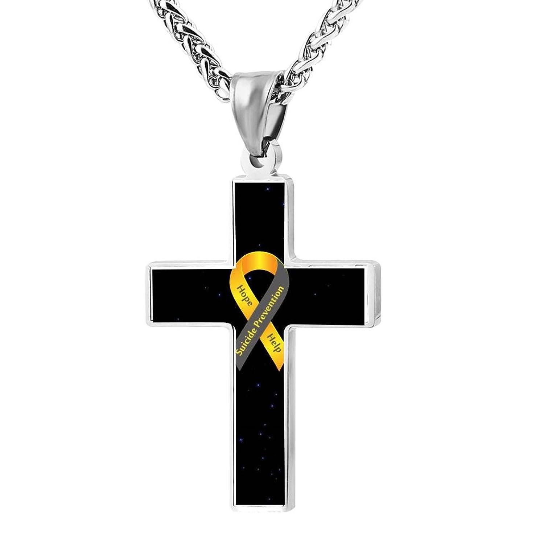 BlingDi Fashion Design Suicide Prevention Yellow Ribbon Zinc alloy Religious Cross Pendant Necklace