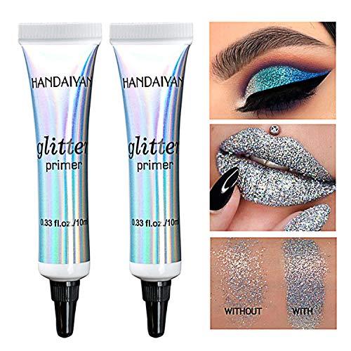 2 Stück Wischfest Eyeshadow Glitter Primer Langanhaltende Augenbasis Make-up Dark-Circle Concealer Multifunktionaler Primer für Augen, Lippen, Gesicht Makeup