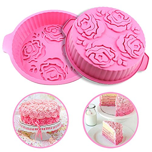 DiDaDi Pink Round Silicone 3D Rose Flower Pattern Bread Cake DIY Baking Mould Pan Mold (Cute Cupcake Pan compare prices)