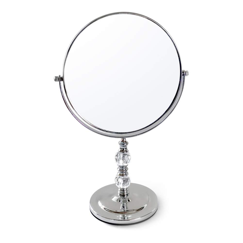8'' Tabletop Vanity Mirror, 360º Swivel Two-Sided Silver Mirror,Portable,Make Up,Magnified, Suitable for Room,Office,Hotel,Dressing Room
