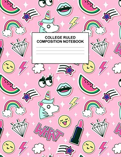 College Ruled Composition Notebook: Cute Blank Lined Journal to Write In with White Paper Rule Pages for School Subject and Writing Pad : Design Code A4 7676
