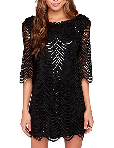 HaoDuoYi Womens Sparkle Sequin Lace Hollow Out Half Sleeves Mini Party Dress(S,Black)