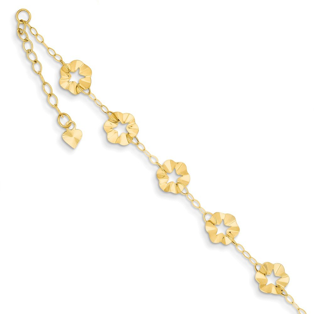 Solid 14k Yellow Gold Adjustable Flower Anklet 9'' (7.5mm)