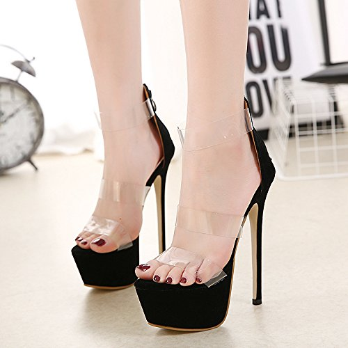 donna tacchi Sandali e sandali black e UE grandi cm americani europei code RUGAI 16 da con impermeabili alti da xaXnOF56w