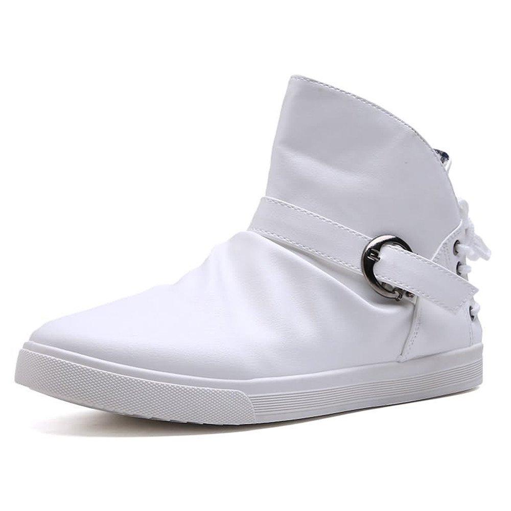 Las Zapatillas de Deporte de la Moda de los Hombres Son Casuales y Cuero Genuino del Lazo Botón de Metal Tendencia de la Juventud Street Dance Sport Shoes 41 EU Blanco