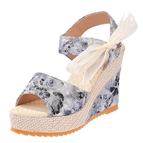 KHSKX-Muffin Shoes Floral Wedges Sandals Waterproof Heels Muffin Thirty-six 2DazoXsNA