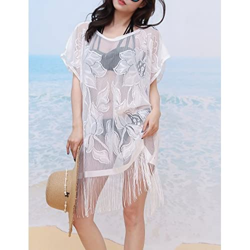 Dimore Swimsuit Cover ups for Women Bikini Lace Beach Wear Cover up with Tassel