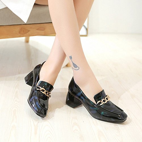 Mee Shoes Damen chunky heels Lackleder slip on Loafers Blau