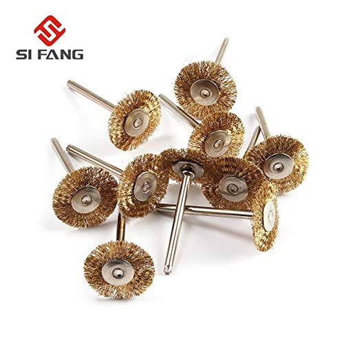 10Pcs 22mm Brass Wire Wheel Brushes Polishing Tool For Rotary Tools 3mm shank