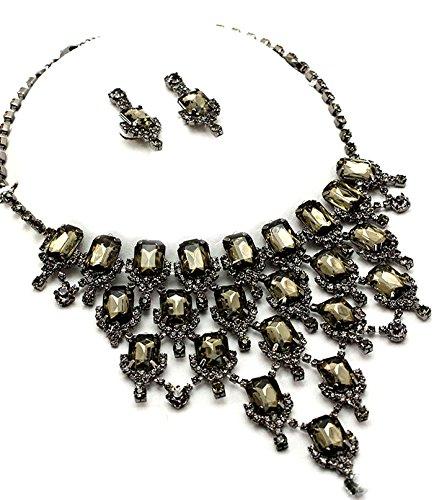 Ensemble boucles d'oreille collier ras du cou en cristal teinté–Style Vintage