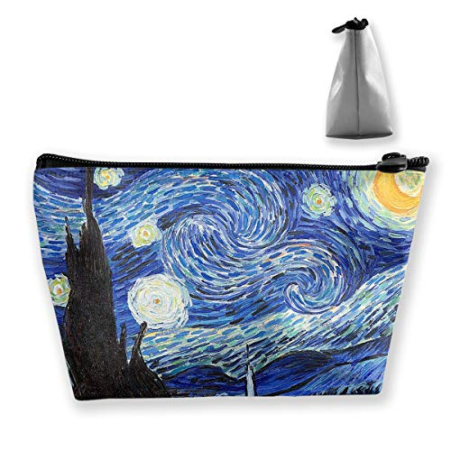 Homlife Starry Night Art Illustration Cosmetic Tote Bag Carry Case - Large Trapezoidal Storage Pouch - Travel Accessories Portable Make-up Bag