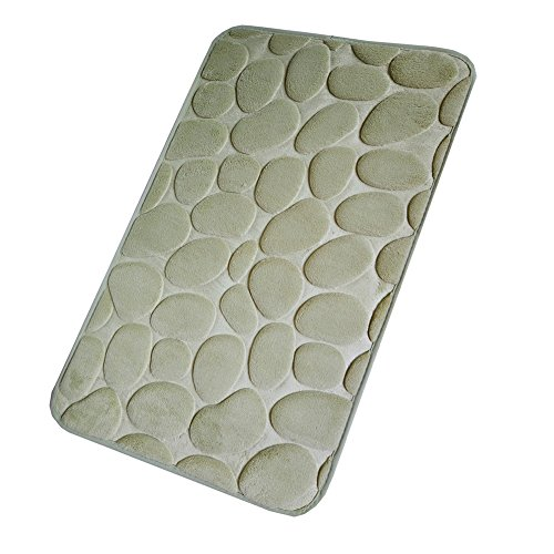 Memory Foam Bath Mat 17'' x 24'', Bathroom Mat and Shower Rug Carpet, Soft Non Slip Absorbent Comfortable Coral Velvet Bath Rug with Water Resistant Rubber Backing (B - Sage Cobblestone) ()