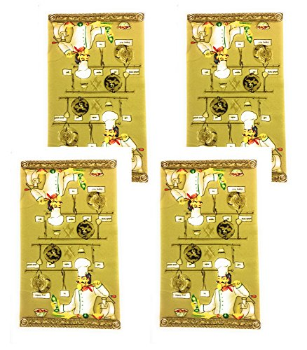 Kitchen Towel Set of 4 Chef cooking themed prints, Oversized 25