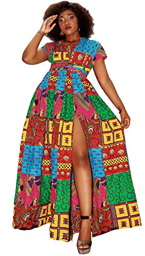 Shenbolen Women African Print Maxi Dress Dashiki Long Dress(B,Small-Large)